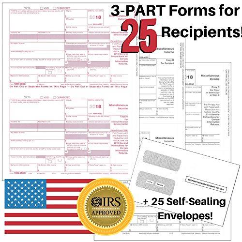 Transmittal Envelope - 1099-MISC Tax Forms for 2018 Returns - 3 Part Kit - 25 Pack + Self-Seal Envelopes + 1096 Laser Transmittals - 8.5