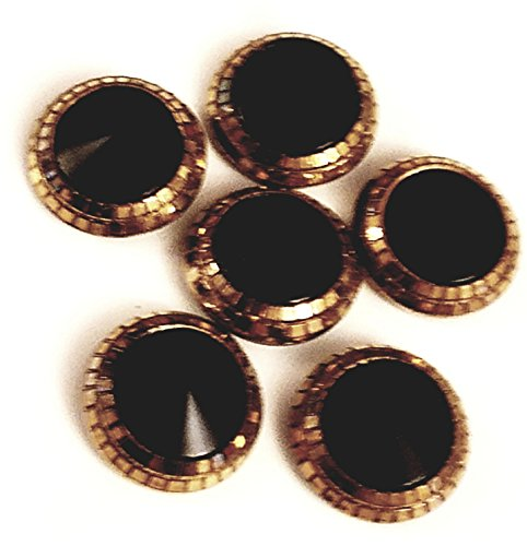 Buttons - Antique Vintage Black and Gold (6 - Glass Vintage Black Buttons