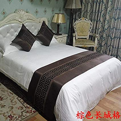 1 Pillow 50x50 ybbed Bed Runner Bed Scarf Chinese Simple Modern Hotel Bed Flag Bed Towel Home high-end Bed mat Bedding Bed Cover Brown
