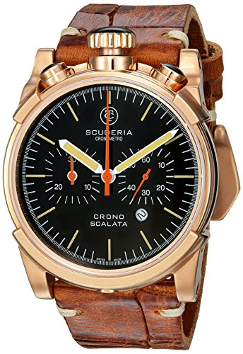 CT-Scuderia-Mens-Red-Zone-Swiss-Quartz-Stainless-Steel-and-Leather-Casual-Watch-ColorBrown-Model-CS10150N