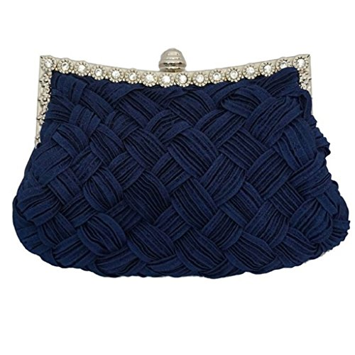 Party Pleated Rhinestone Women��s TRENTON Blue Clutch Satin Handbag Braided Purse Dark SIqH4w5