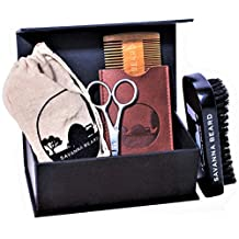 SAVANNA BEARD - Grooming Beard Kit - 100% Pure Boar Bristle Brush & Green Sandalwood Dual Action Comb with PU Leather Case & Stainless Beard Nose Scissors - Travel Bag & Elegant box - Perfect Gift