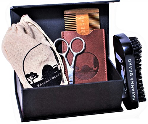 SAVANNA BEARD – Grooming Beard Kit – 100% Pure Boar Bristle Brush & Green Sandalwood Dual Action Comb with PU Leather Case & Stainless Beard Nose Scissors – Travel Bag & Elegant box – Perfect Gift