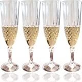 Set of 4 Champagne Flutes with Crystal Effect - Plastic Sparkling Wine Glasses to Celebrate Every Special Day - 8 Oz