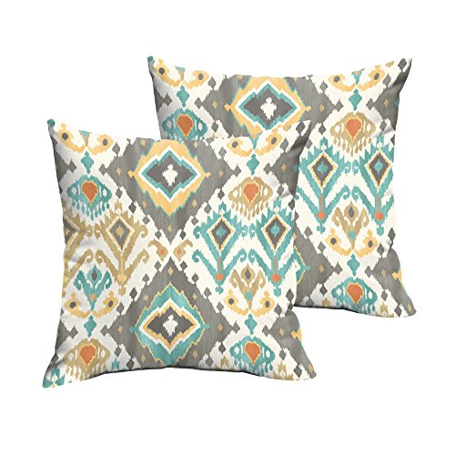 Mozaic Company Indoor/ Outdoor 20-inch Knife Edge Pillow, Grey Aqua Ikat, Set of 2