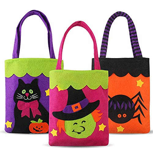 2019 Halloween Candy Bags(3pcs) for Kids Boys Girls, Felt Pumpkin Candy Bags with Handle Tote Bags Trick or Treat Bags Felt Bags with Handle for Kids Halloween Costume Party