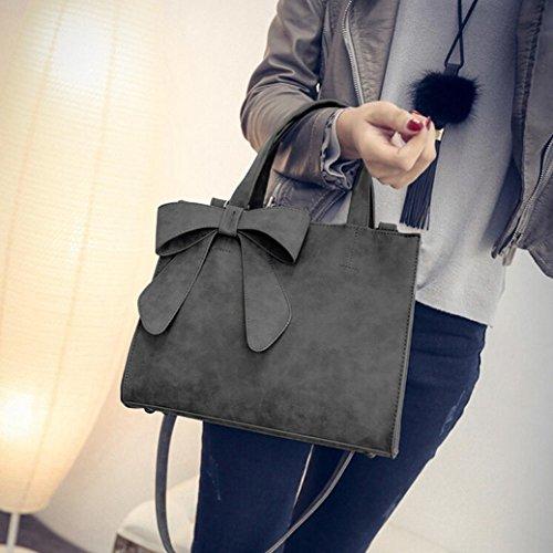 Bow Bow Portable Fashion Women's Crossbody Cute Handbag diagonal erthome Shoulder Bags Gray xqt87Fwwn1