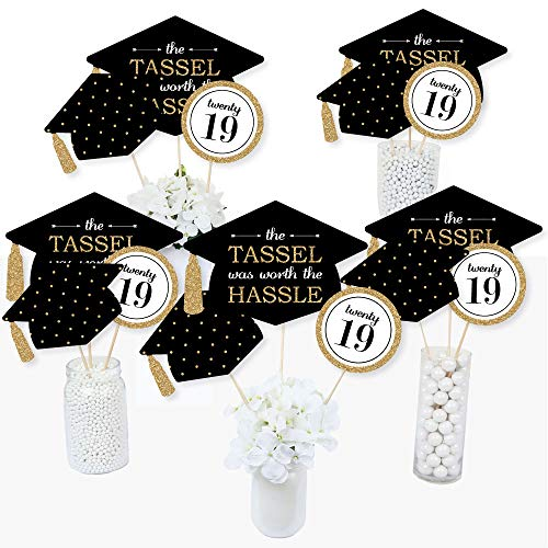 Gold - Tassel Worth The Hassle - 2019 Graduation Party Centerpiece Sticks - Table Toppers - Set of 15]()