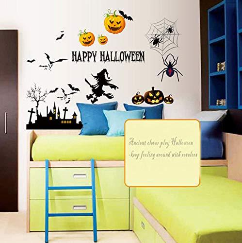 Happy Festival Halloween Cartoon Yellow Pumpkin Wall Sticker for Home Decor,Living Room,Bathroom,Kids Room Wallpaper 4866cm -
