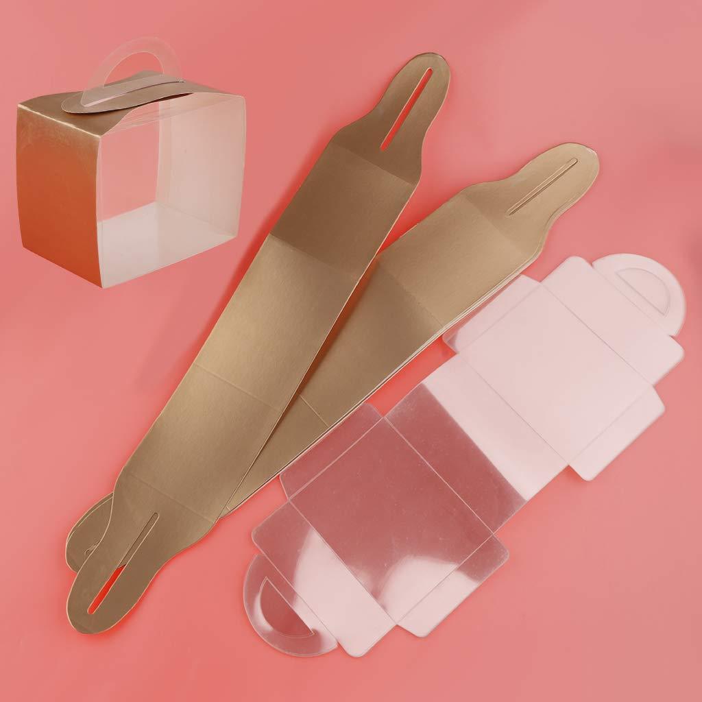 B Blesiya 10 Piezas Caja de Torta de Cart/ón Cupcake Que Contiene Cajas de Caramelos Decorativos con Ventana Y Mango 12.3x8.3x10cm Azul