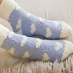 Skola Women\'s 6pairs pack Patterned Super Soft Cozy Fuzzy Winter Warm Crew Slipper Home Socks (Heart design assorted)