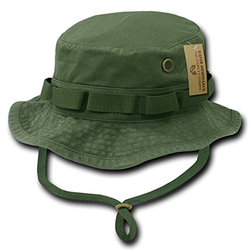 (Washed Cotton Military Boonie Hat with Drawstring - OLIVE - XL)