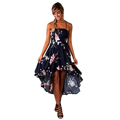 08772fde04bf6 Forthery Women s Halter Off Shoulder Floral Irregular Party Maxi Boho Dress  Tag M   US S