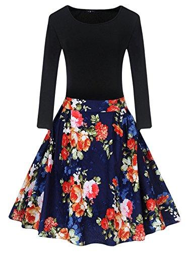 Feoya - Vestidos Vintage para Mujer Manga Larga Vestidos Retro para Fiesta Flores Algodón Cómodo A-línea Rojo/Amarillo/Verde Talla M/L/XL/2XL: Amazon.es: ...