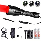Odepro KL41 Hunting Flashlight Kit Red Light Green Light White Light IR850 Light LED Lamps and Cable Switch, Long Beam Flashlight with 2pcs 18650 Rechargeable Battery, Charger, 2pcs Mount Clip