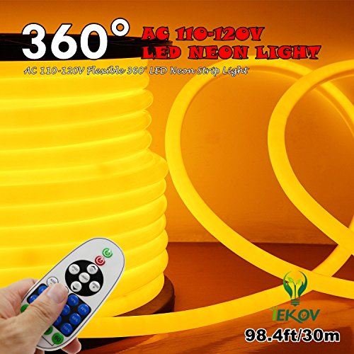 [UPGRADE] 360° LED NEON LIGHT, IEKOV™ AC 110-120V Flexible 360 Degree LED Neon Strip Light, Dimmable & Waterproof NEON LED Rope Light+Remote Controller (98.4ft/30m, Golden Yellow) by IEKOV (Image #8)