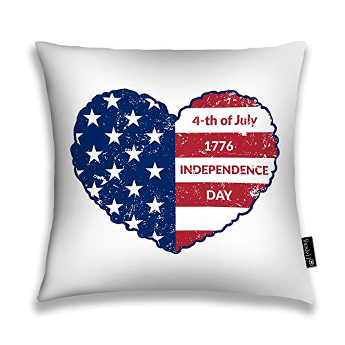 Randell Decorative Throw Pillow Case American Flag As Heart Shaped Independence Day Patriotic Love CUSUhion Cover Square 18 X 18 Inches