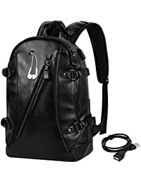 Men Backpack PU Leather Laptop Backpack Waterproof Casual Travel Backpack Large Capacity School Backpack with USB Charging Port for 15Inch Laptop