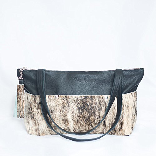 Cowhide Bag - Black Leather Satchel - White & Gray Leather Purse - Shoulder Bag by Beaudin