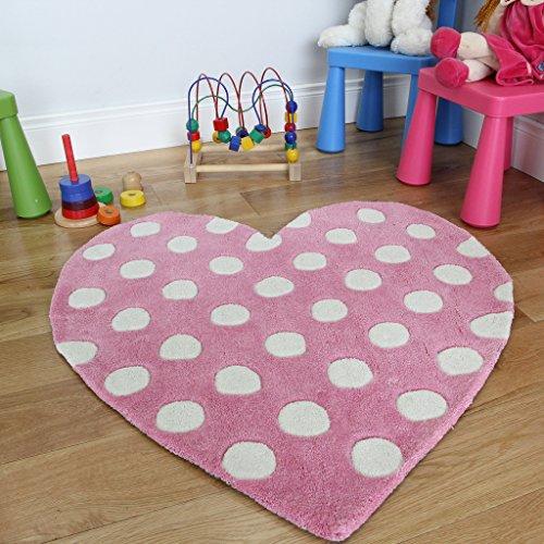 Girls Pink Polka Dot Love Heart Shape Soft Fluffy Child's Rug - 2'11