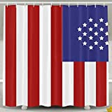 BINGO FLAG Funny Fabric Shower Curtain USA Flag New Waterproof Bathroom Decor With Hooks 60 X 72 Inch