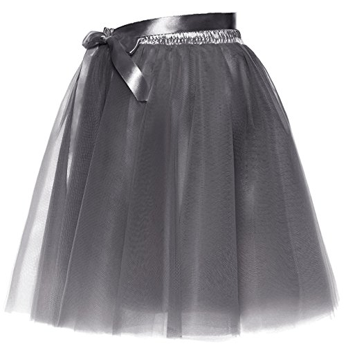 Slip Jupe Short Prom Gris BeiQianE Jupon Layered Bowknot Party Sash Tulle Femmes Amovible BYqwz