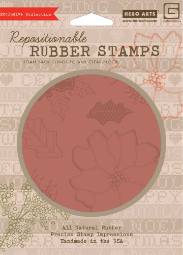 Hero Arts Rubber Stamps Nordic Holiday Poinsettia & Berries Cling Stamp ()