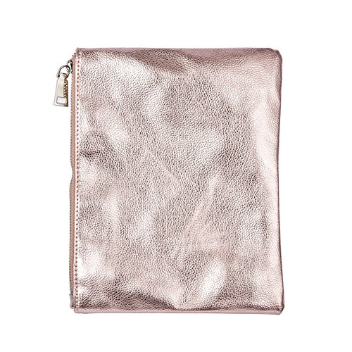 AMAZZANG-Womens Fashion Zipper PU Leather Toiletry Makeup Travel Bag Purse Pouch Case Kit (ROSE GOLD)