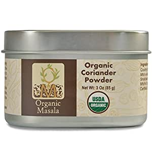 Organic Coriander Powder 3 oz Organic spice to enhance your meal and provide the health benefits of coriander. Presented in tin to preserve freshness and keep out daylight.