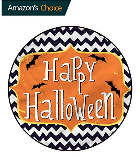 RUGSMAT Halloween Machine Washable Round Bath Mat,Doodle Style