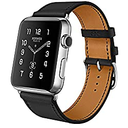 Apple Watch Band, 42mm [Business Series] Apple Watch Leather Band Cow Leather Replacement Band For 42mm Apple Watch Series 3series 2series 1sportedition (Black 42mm)