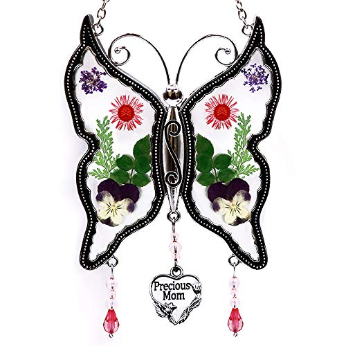 Loganrock Precious Mom Butterfly Suncatcher Wind Chimes Gifts for Mom, Pressed Flower Between Glass for Window, Silver Metal Engraved Charm, as Mother