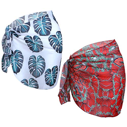 (URATOT 2 Pack Women Chiffon Printing Sarong Cover Up Beach Wrap Swimsuit for Vocation,Beach (Palm Leaf+Flower, 140x50cm) )