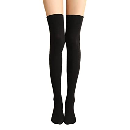 ef1901779c188 Amazon.com: Long Cotton Stockings,Morecome Women Thigh High Over The Knee  Socks (Black): Kitchen & Dining