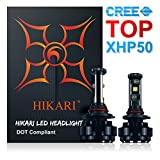HIKARI LED Headlight Bulbs Conversion Kit -HB3(9005),CREE XHP50 9600lm 6K Cool White,2 Yr Warranty
