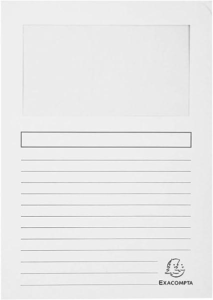 Color Blanco Exacompta 50110E Lote de 100 Subcarpetas Forever/® 120 con Ventana e Impresas
