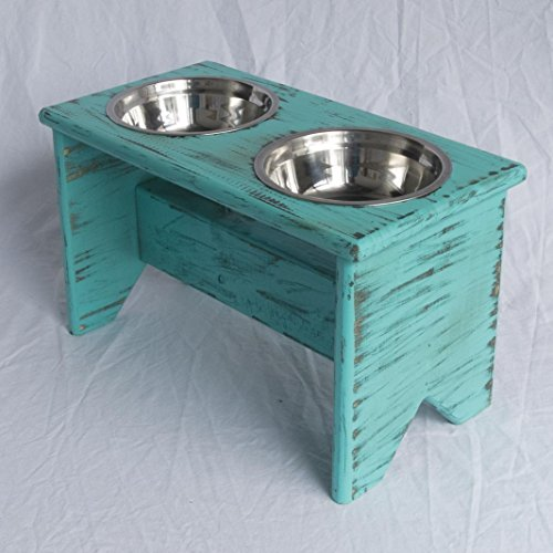 Elevated Dog Bowls Stand - Wooden - 2 Bowls - 300 mm / 12'' Tall - Raised Dog Food and Water Bowls by Fabian Woodworks