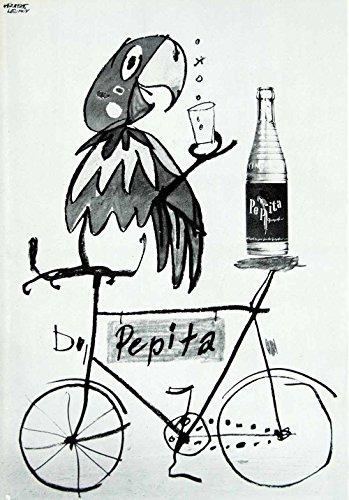 1958 Print Herbert Leupin Advertising Poster Pepita Grapefruit Soda Bike VENA1 - Original Halftone Print from PeriodPaper LLC-Collectible Original Print Archive