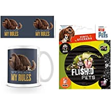 Set: The Secret Life Of Pets, My Rules Photo Coffee Mug (4x3 inches) And 1 The Secret Life Of Pets, Sticker Adhesive Decal (5x4 inches)