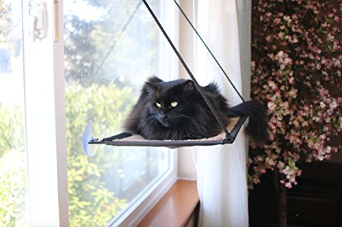 Penthouse Cat Couch - Ultimate Elevated Window Bed for Felines. Solid Steel Frame and Large Suction Cups Hold Up Over 50lbs. 22
