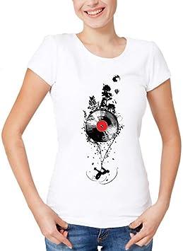 LIULINUIJ Camiseta De Mujer Camiseta del Disco De Vinilo Personalizada De Sonido Creativo del Bosque Camiseta De Verano Hipster Música Tops Camiseta: Amazon.es: Deportes y aire libre