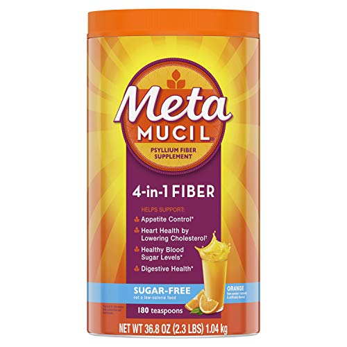Metamucil Fiber, 4-in-1 Psyllium Fiber Supplement, Sugar-Free Powder, Orange Flavored Drink, 180 Servings, 36.8 Ounce