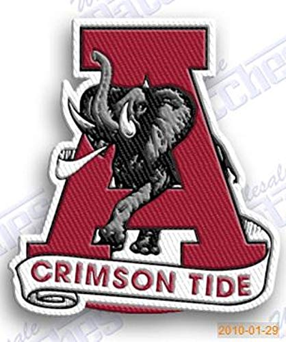 Crimson Embroidery - ALABAMA CRIMSON TIDE ROLL IRON ON EMBROIDERED EMBROIDERY PATCH PATCHES SCHOOL OF UNIVERSITY STATE COLLEGE NCAA FOOTBALL SPORTS