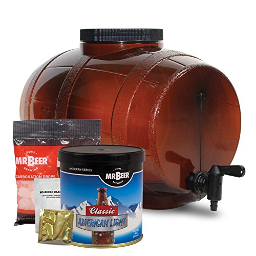 Mr. Beer Deluxe Edition 2 Gallon Homebrewing Craft Beer Making Kit with All Grain Extract Beer Refill, Convenient 2 Gallon Fermenter, Sanitizer and Step-by-Step Brewing Instructions (Fermenter Beer)