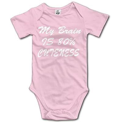 Venus Eugen Kid My Brain is 80% Cuteness Jumpsuit Cotton Short Sleeve Baby Boys Girls Bodysuit Romper