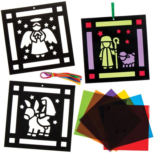 Nativity Stained Glass Effect Decoration Kits Perfect For Xmas Children's Arts, Crafts And Decorating For Boys And Girls (Pack of (Diy Christmas Ideas)