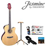Jasmine by Takamine S34C Acoustic Guitar Start-Up Pack with Guitar Strap, Strings, Guitar Stand and Picks