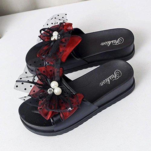 Sandali Della Piattaforma Delle Donne Di Inkach - Sandali Di Bagno Dei Sandali Di Estate Delle Signore Di Modo Scarpe Con Zeppa Casuali Della Spiaggia Rosse