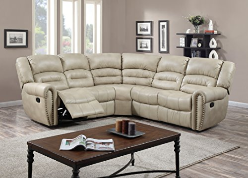 Glory Furniture G687B-SC Sectional Sofa, Beige, 3 boxes For Sale