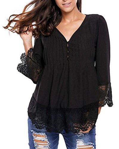 Sexy Halloween Constumes (HowFitU Women V-neck Lace Button Up Sleeved Office Blouse(black,S))